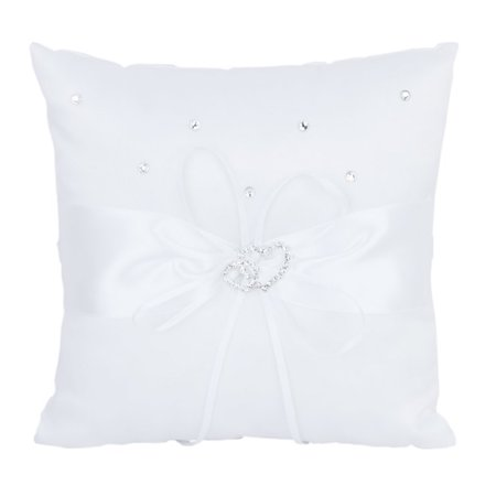 10*10cm Double Heart Bridal Wedding Ceremony Pocket Ring Bearer Pillow Cushion with Satin Ribbons (White)