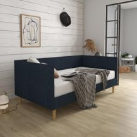 DHP Franklin Mid-Century Upholstered Daybed, Twin Size, Blue Linen