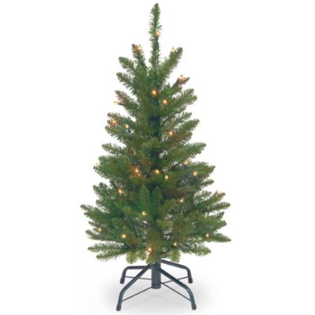 National Tree Pre-Lit 3' Kingswood Fir Wrapped Pencil Artificial Christmas Tree with 50 Clear Lights ()