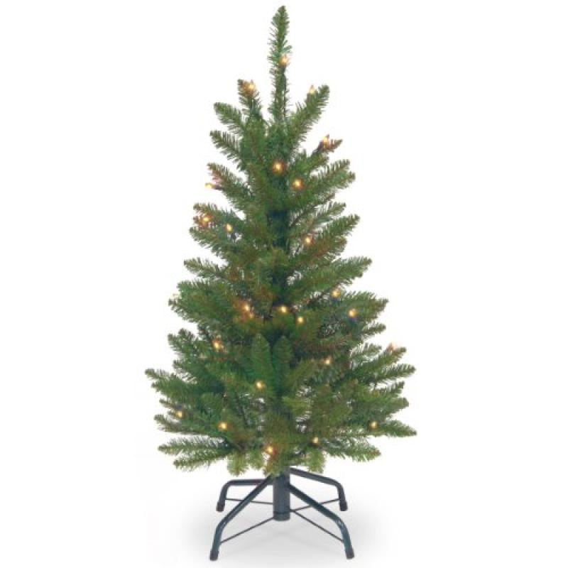 National Tree Pre-Lit 3' Kingswood Fir Wrapped Pencil Artificial Christmas Tree with 50 Clear Lights