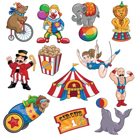 Circus Cutouts Decorations (Blue Panda Carnival Cutouts Party Supplies - 12-Piece Circus Theme Birthday Party Favors Animals, Clown Performers, Colorful Print Design Decoration on 350 GSM)