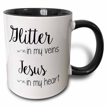 3dRose Glitter in my Veins Jesus in my Heart - Two Tone Black Mug,