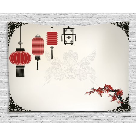 Lantern Tapestry, Minimalist Chinese New Year Themed Pattern Eastern Parts of the World Print, Wall Hanging for Bedroom Living Room Dorm Decor, 80W X 60L Inches, Black White Red, by Ambesonne - Chinese New Year Decor Ideas