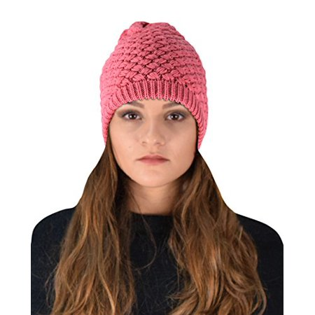 Peach Couture Thick Crochet Knit Quilted Double Layer Beanie Slouchy Hat Pink - image 1 of 1