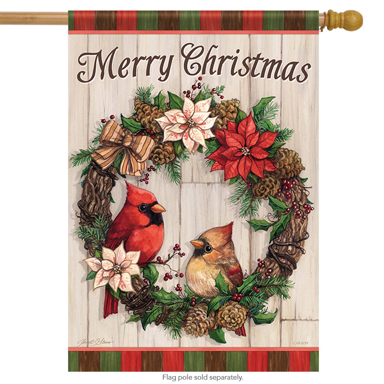 Christmas Cardinal Wreath House Flag Poinsettia Birds Double Sided 28 X 40 Walmart Com Walmart Com