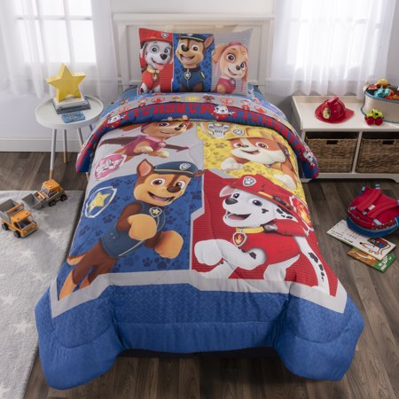 PAW Patrol Kids Bed in a Bag Reversible Bedding Set w/ Chase, Skye, Marshall & Rubble