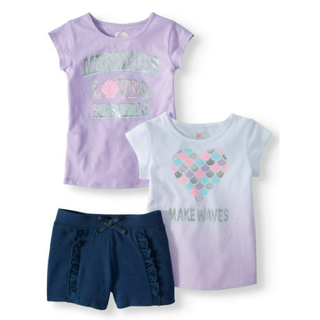 Graphic Tees & Short, 3-Piece Mix and Match Outfit Set (Little Girls & Big Girls)