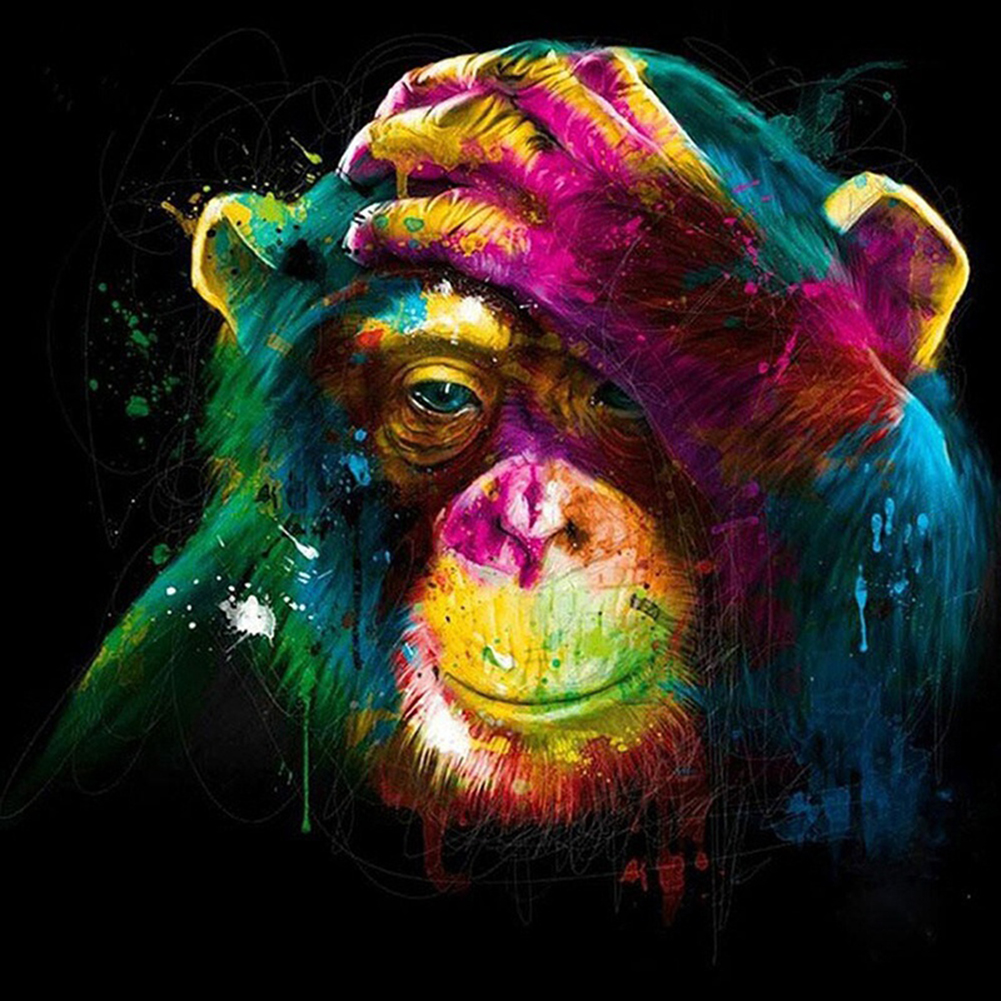 Girl12Queen Diamond Painting Cross Stitch Kit Colorful Orangutan 5D DIY Wall Art Home Decor