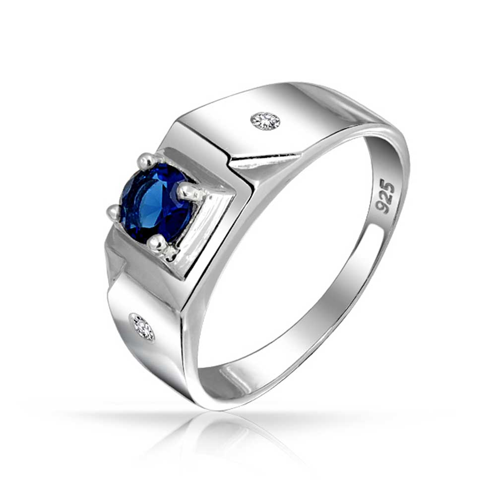 Bling Jewelry Sterling Silver Round Solitaire Simulated Sapphire ...
