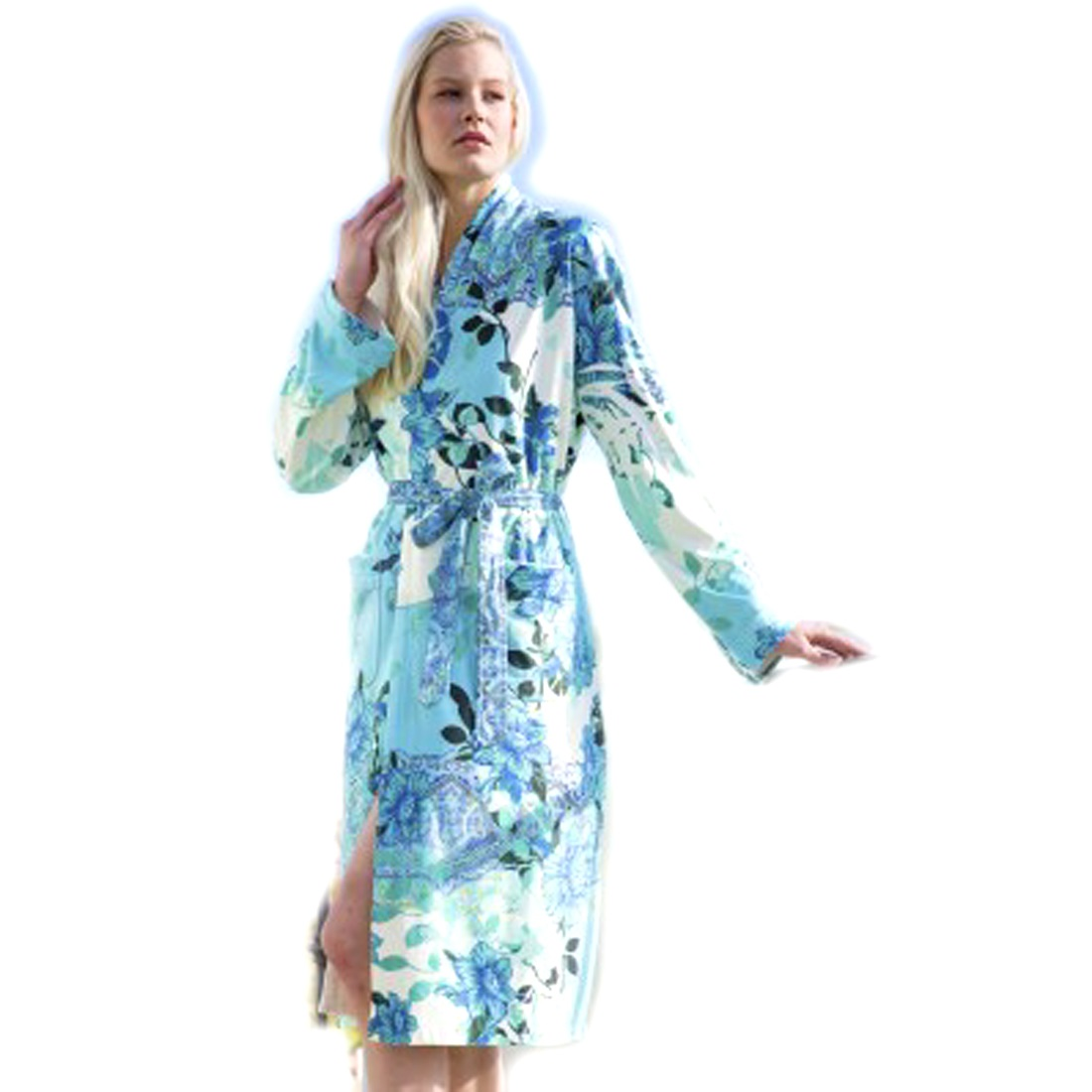 S M Wrap Up By Vp Floral Inspired Blue Microfiber Short Robe Clothing Women