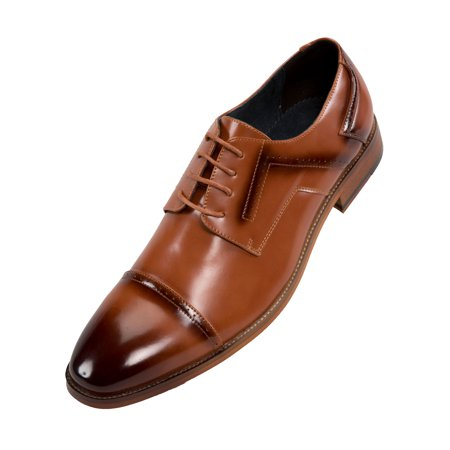 Amali Men's Faux Leather Exotic Print and Smooth Cap Toe Men's Dress Shoes Available in Black, Green, Tan, Brown (Time Brown Leather)