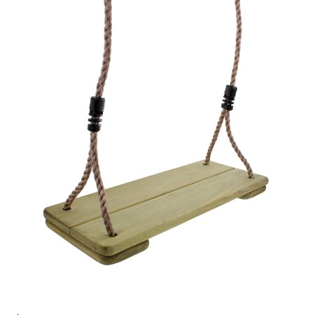 Hanging Wooden Swing Replacement Seat & Frame or Tree Adjustable Rope ()