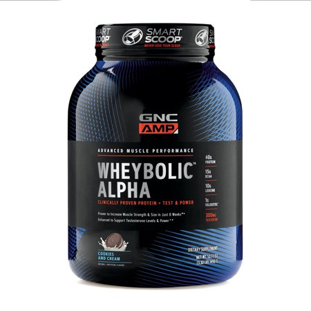GNC AMP Wheybolic Alpha Whey Protein Powder, Cookies and Cream, 22 Servings, Contains 40g Protein and 15g BCAA Per (Gnc Whey Protein Vs On Whey Protein)