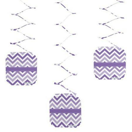 Chevron Purple - Party Hanging Decorations - 6 Count - Purple Party Decorations