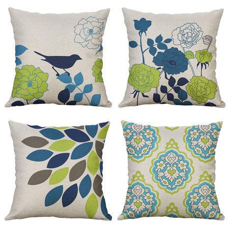 Tayyakoushi Pack of 4 Bird and Flower Pattern Pillow Covers Decorative Cotton Linen Throw Pillow Covers Spring Theme Soild Cushion Cases for Sofa Bedroom Car 18x18 Inch