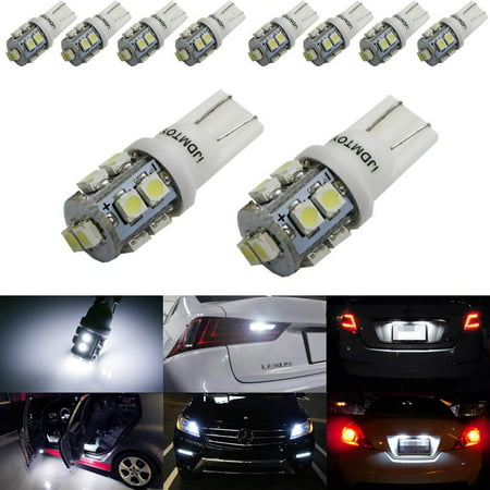 iJDMTOY (10) Xenon White 10-SMD 360-Degree Shine 168 194 2825 W5W LED Replacement Bulbs For License Plate Lights, Also Parking Lights, Backup Lights, Interior Lights (194 Light Bulbs)