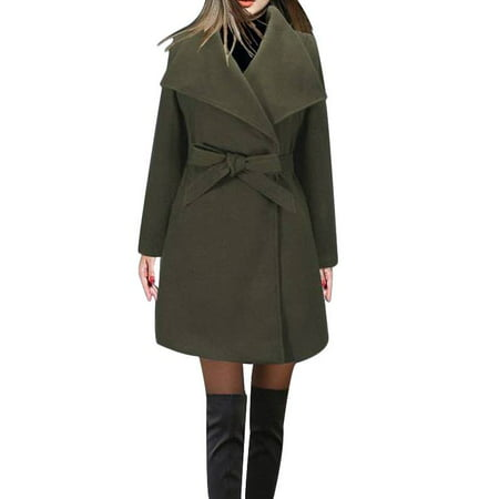 Women's Lapel Knee-Length Slim Trench Wool Coat with Belt (All Weather Trench Coat)
