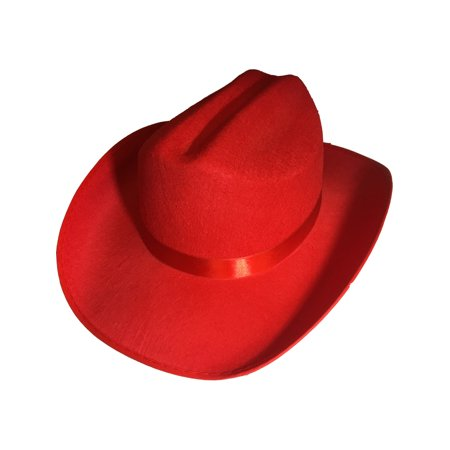 New Child's Country Red Cowboy Cow Boy Felt Costume Hat](Child Cowboy Hat)