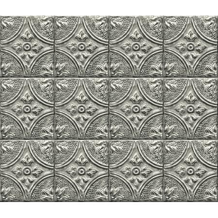 Brewster Silver Tin Tile Peel & Stick Backsplash