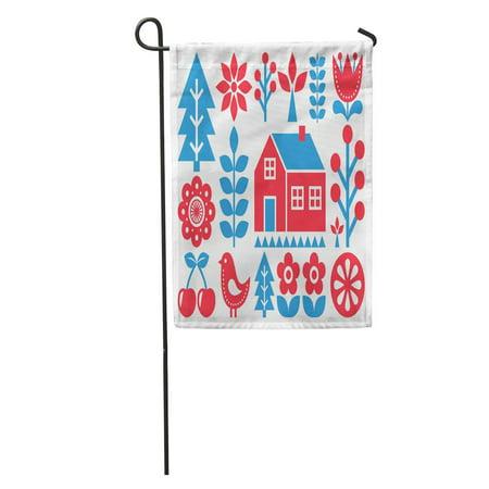 NUDECOR Red Tree Finnish Inspired Folk Pattern Scandinavian Nordic Danish Geometric Garden Flag Decorative Flag House Banner 28x40 inch - image 1 of 2