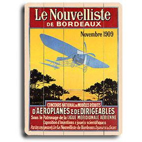 Artehouse Decorative Wood Sign  Le Nouvelliste De Bordeaux Aviation Poster   9  X 12   Solid Wood