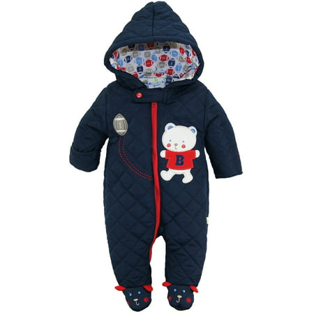 c4045d8aa Duck Goose Baby Boys Cute Teddy Bear Quilted Footed Snow Pram Puffer ...