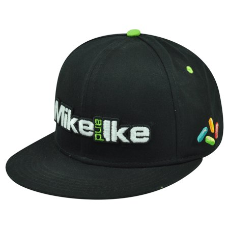 Mike And Ike Candy Brand Chewy Fruit Novelty Black Flat Bill Snapback Hat Cap - Fruit Hat