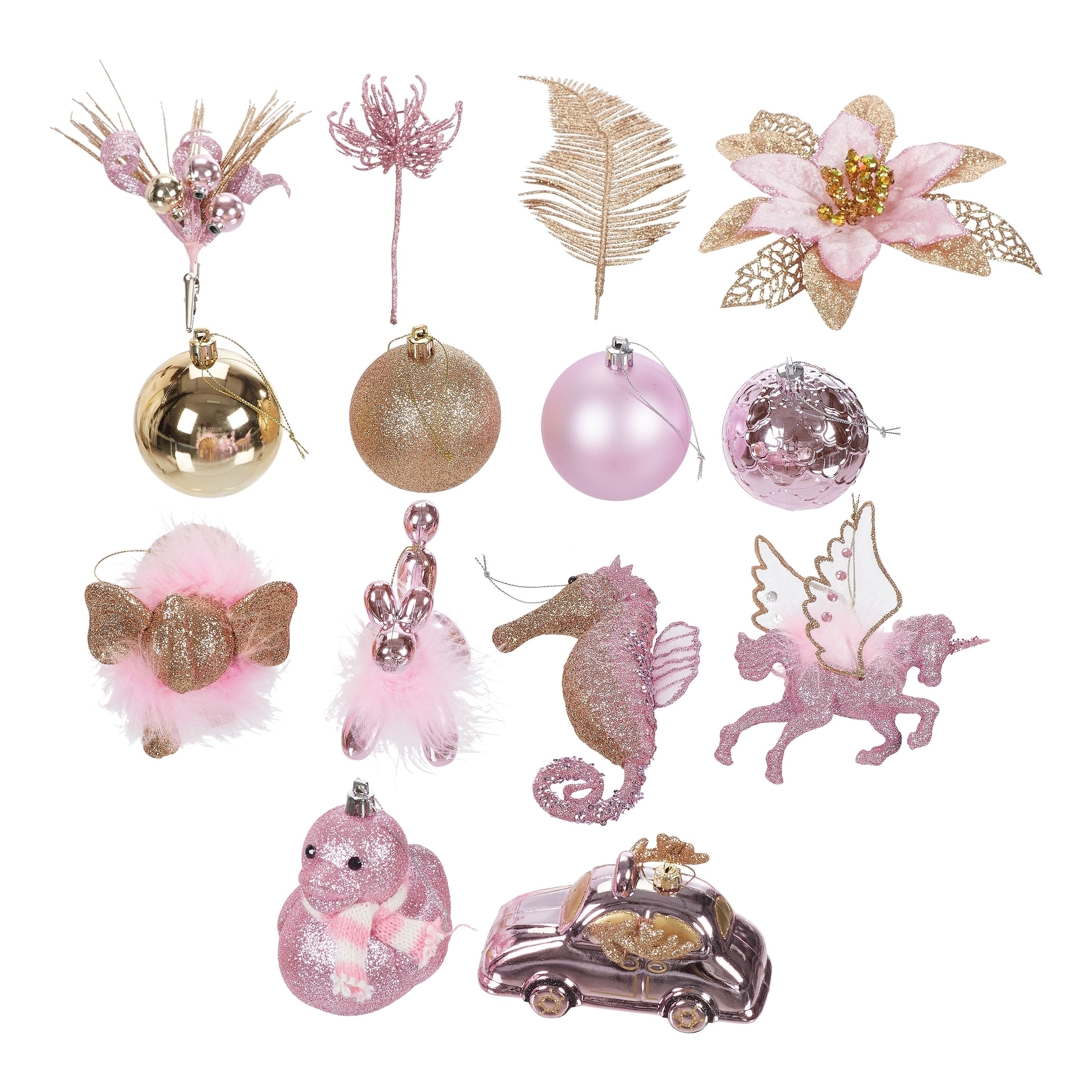 Holiday Time Pink And Gold Variety Christmas Tree Ornaments 28 Count Limited Edition Walmart Com Walmart Com