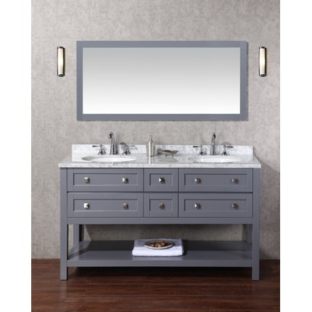 Marla 60 Inch Double Sink Bathroom Vanity With Mirror In Grey