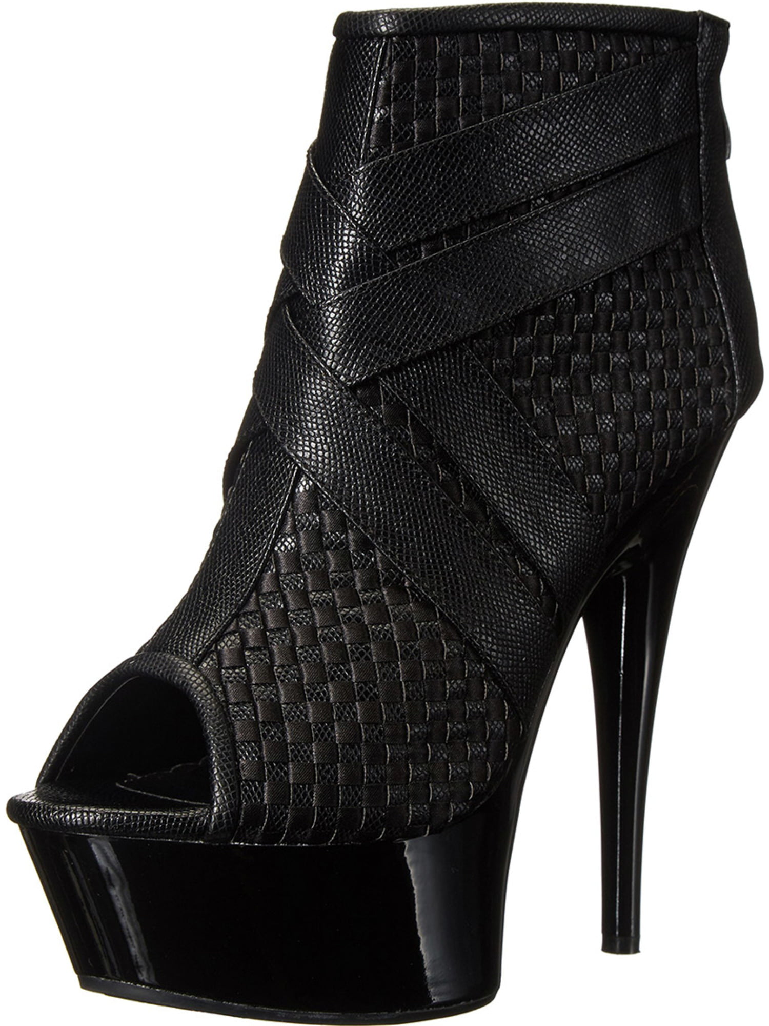 Sassy Black Ankle Booties with Basket Weave Texture and 6 Inch Stiletto Heels