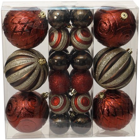 holiday time christmas ornaments traditional shatterproof set of 30 dark red brown