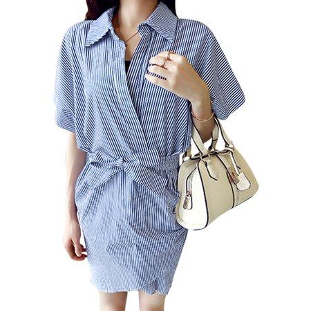 67607221881d1 Unique Bargains - Women Point Collar Crossover Front Self Tie Waist Wrap  Dress Blue XS - Walmart.com
