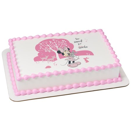 "Minnie Too Sweet 2"" Round Cupcake Sheet Image Cake Topper Edible Birthday Party"