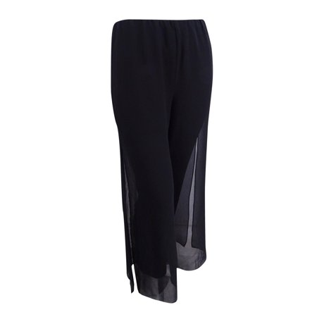 Alex Evenings Sleeveless - Alex Evenings Women's Wide-Leg Chiffon Pants (L, Black)