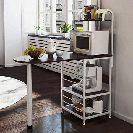 Magshion Kitchen Island Metal Dining Baker Cabinet Basket Storage Shelves Organizer Wood Dark