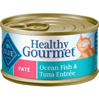 (24 pack) Blue Buffalo Healthy Gourmet Natural Adult Pate Wet Cat Food, Ocean Fish & Tuna Entree, 5.5 oz. Cans