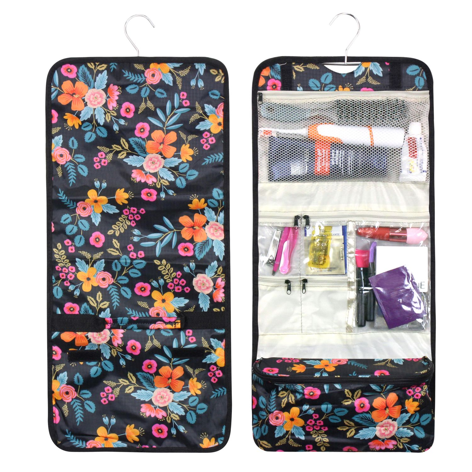 Foldable Travel Cosmetic Makeup Hanging Carry Bag by Zodaca for Business Trip Camping Hiking Toiletry - Multi-color Marion Floral Print