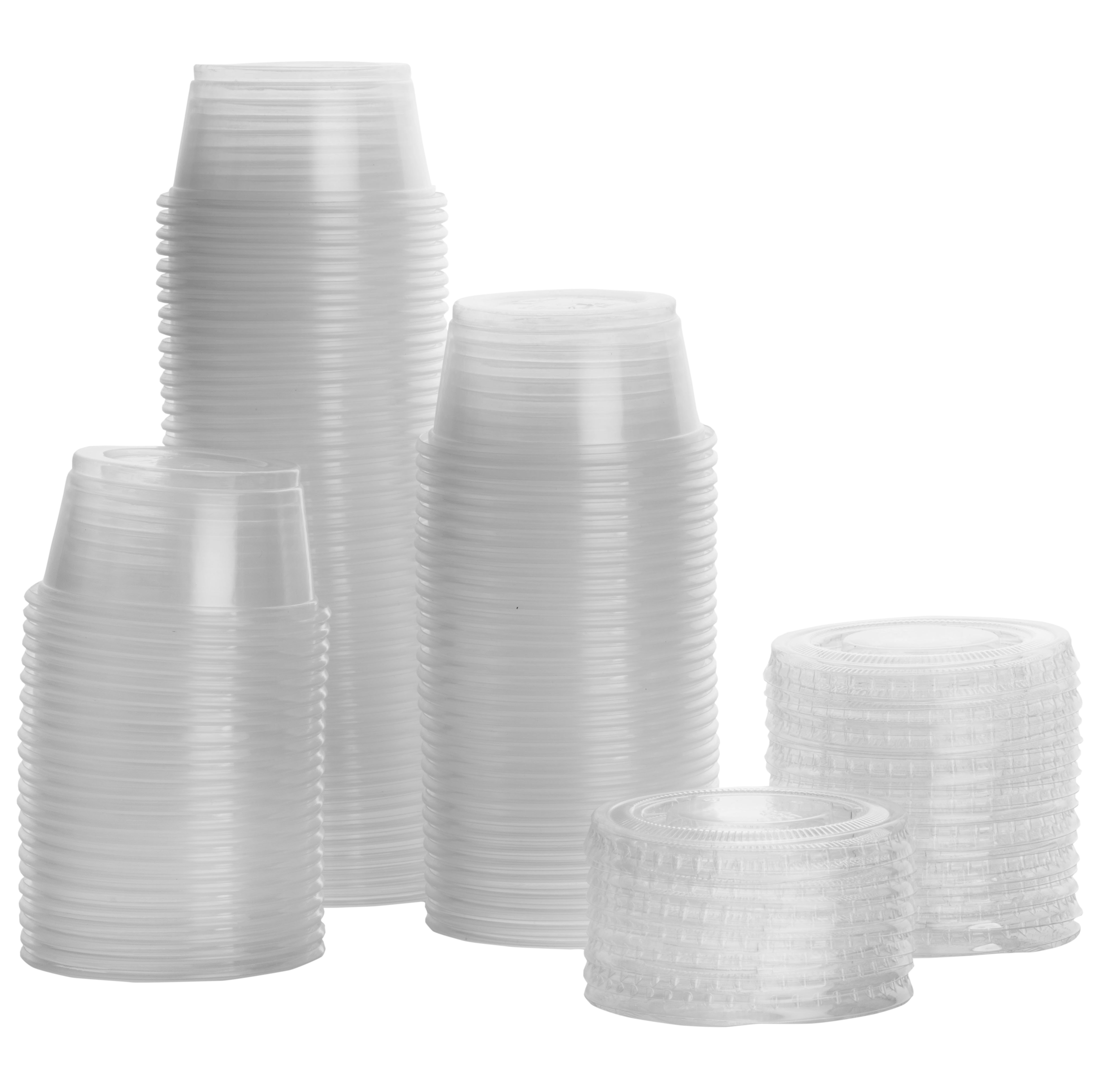 COMFY PACKAGE 2 oz. Plastic Disposable Portion Cups, Jello Shot Cups, Souffle Cups with Lids [100 Pack] by AV Inc.