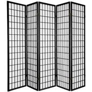 "Legacy Decor Japanese Oriental 5 Panel Room Divider, 71"" Tall, Black Color"