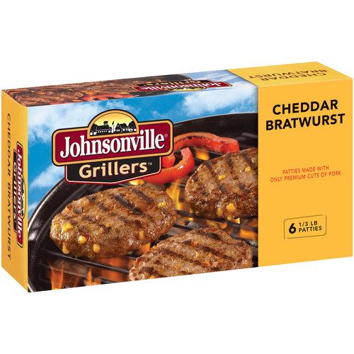 Johnsonville Grillers Cheddar Bratwurst Patties, 0.333 lb., 6 count