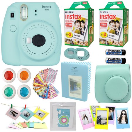 Fujifilm Instax Mini 9 Instant Camera ICE BLUE + Fuji INSTAX Instant Film (40 SHEETS) + Accessories kit Bundle, Includes Custom  Case + Photo Album + Frames + 4 Lens Filters +