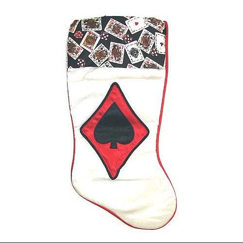 "19"" Satin Deck of Cards Spades Casino Gambling White Christmas Stocking"