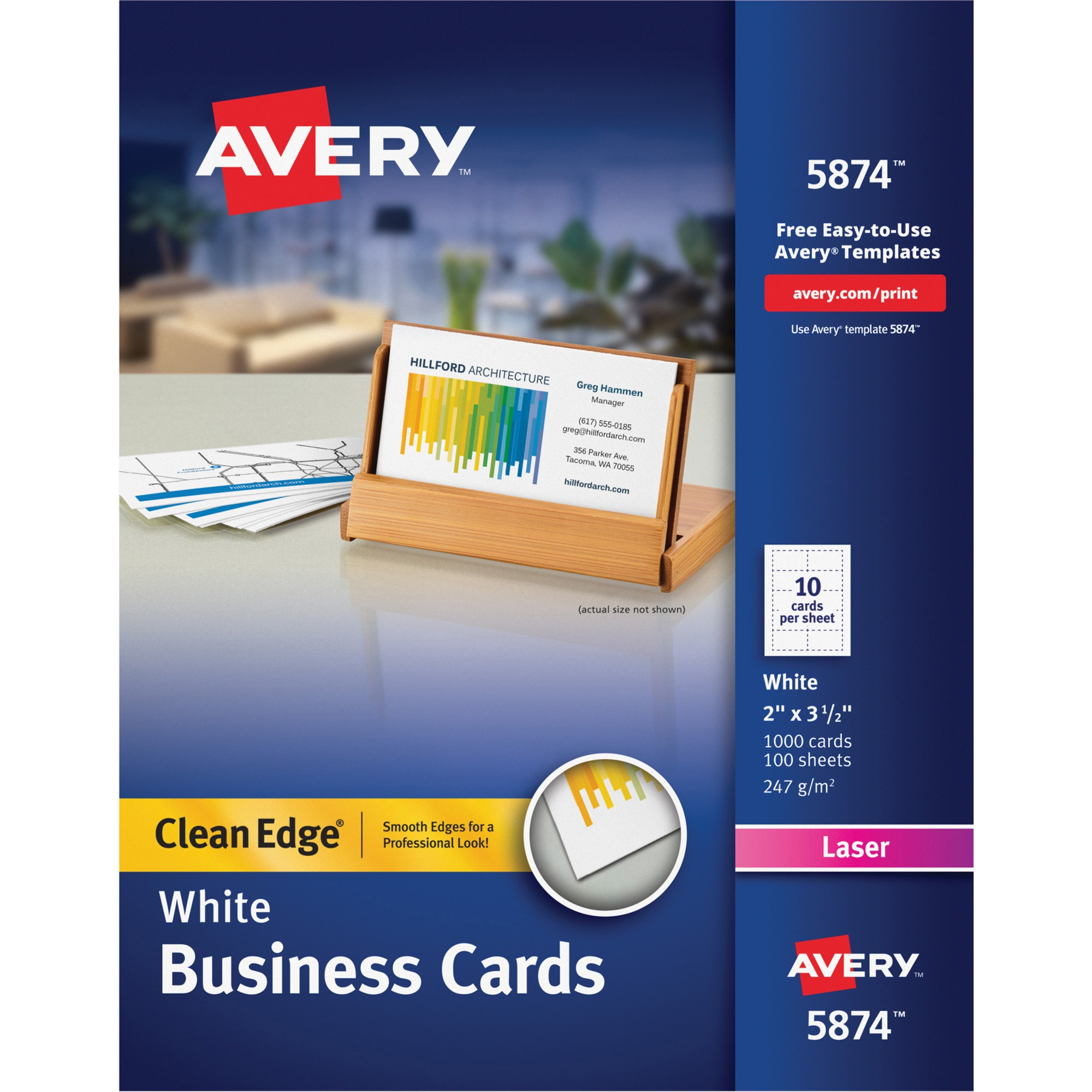 Avery Clean Edge Business Cards, Laser, 2 x 3 1/2, White, 1000/Box