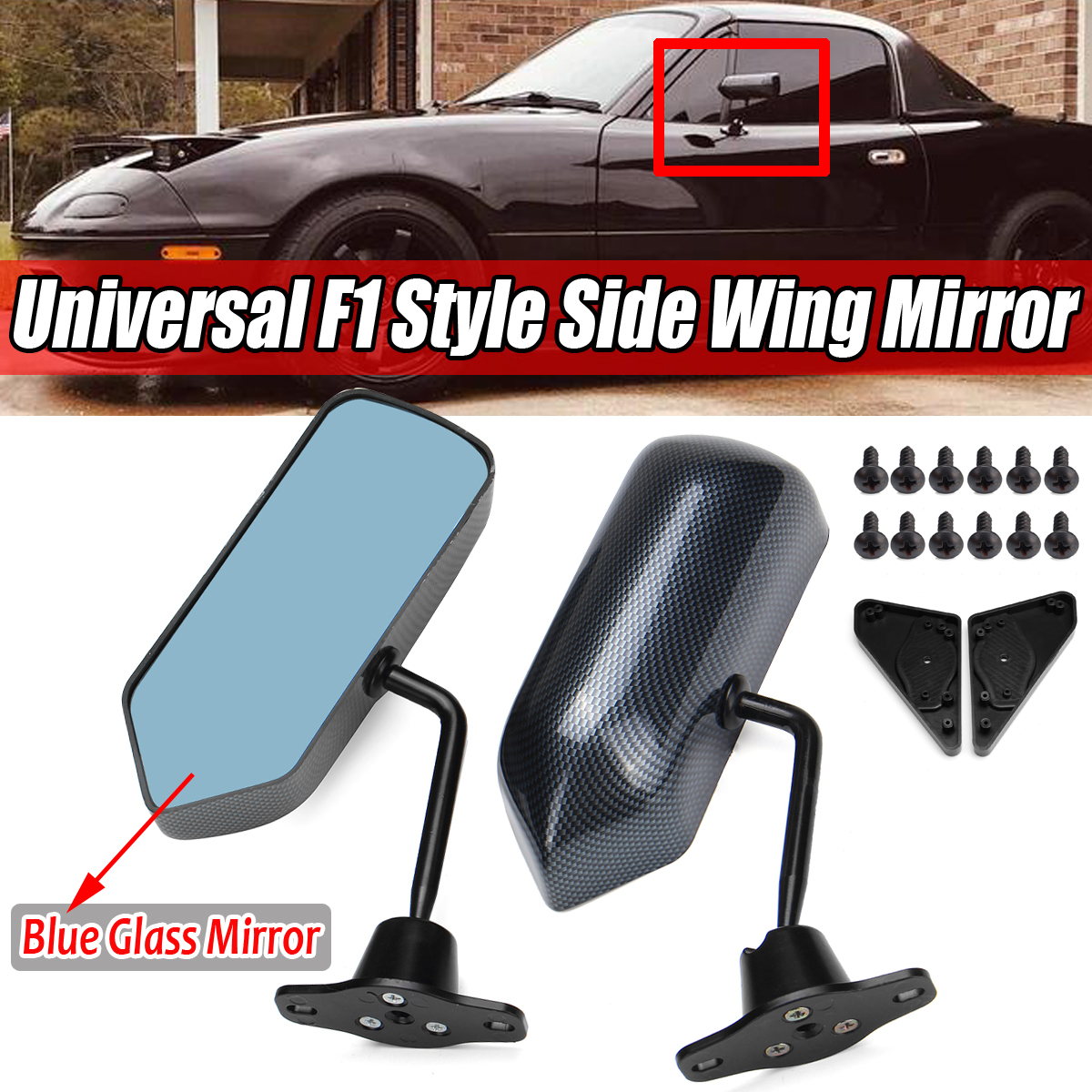 Pair Universal F1 Style Carbon Fiber Car Vehicles Racing Side Rear View Mirrors
