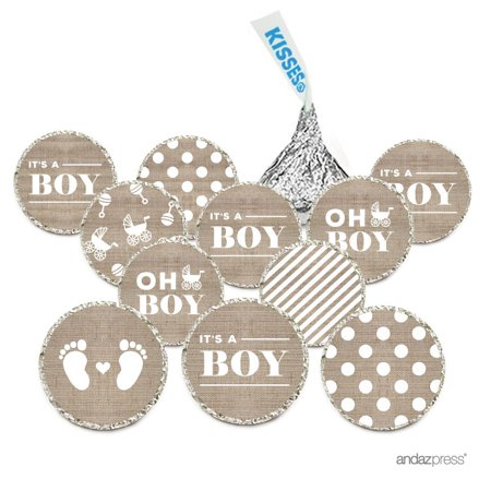 Chocolate Drop Labels, Fits Hershey's Kisses, Ultimate Boy Baby Shower Collection, Burlap, 216-Pack Good Boy Chocolate Drops