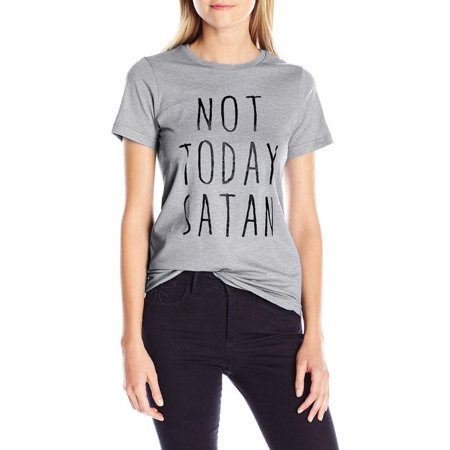 Nlife Women Letter Print Round Neck Short Sleeve T-shirt Not Today Satan