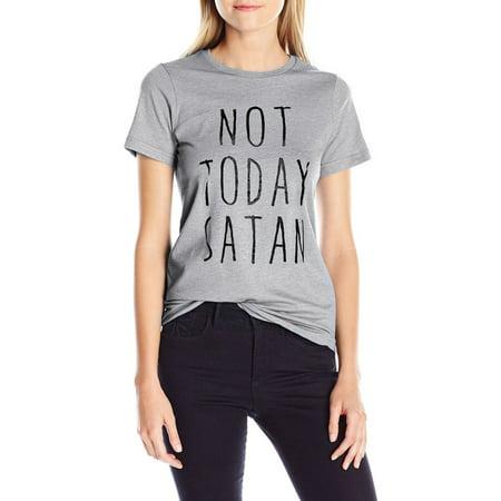 Nlife Women Letter Print Round Neck Short Sleeve T-shirt Not Today Satan Black Shirt Gold Letters