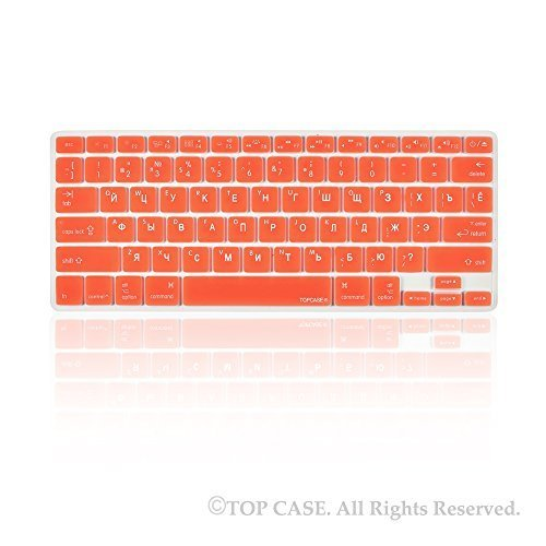 "TopCase Russian Letter Red Silicone Keyboard Cover Skin for Macbook 13"" Unibody / Macbook Pro 13"" 15"" 17"" with or without Retina Display / New Macbook Air 13"" / Wireless Keyboard + Topcase Mouse Pad -"