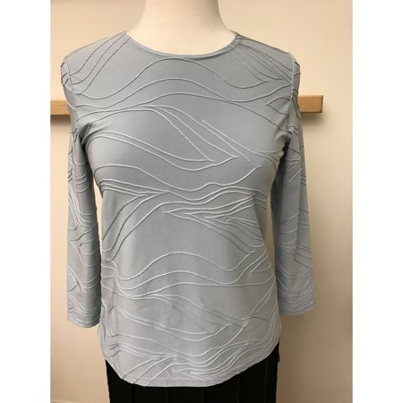 Solid Crew Neck Top Slinky Knit With Raised Stitch Waves Design (Style#