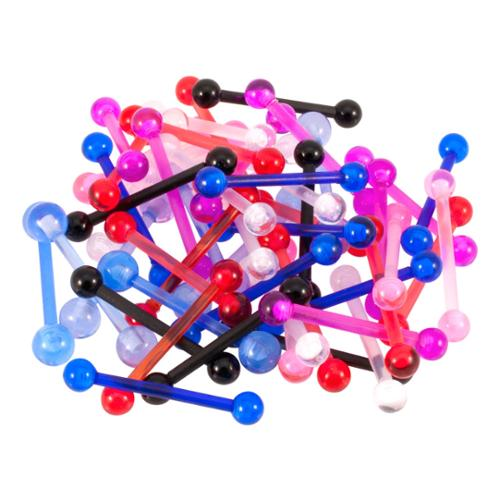 50 Pack 14 Gauge Bioflex Flexible Tongue Barbell Rings, Mixed Colors